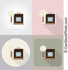 old retro vintage photo camera flat icons vector illustration