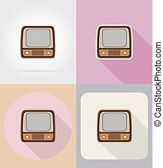 old retro vintage tv flat icons vector illustration