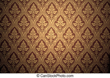 Old retro wallpaper in sepia. Grunge background
