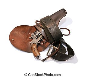 Old revolver in a holster