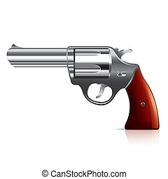 Old revolver isolated on white photo-realistic vector illustration