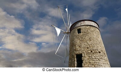 old Rhodes windmills, Greece  (time lapse)