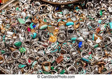 Old rings on Jerusalem flea market