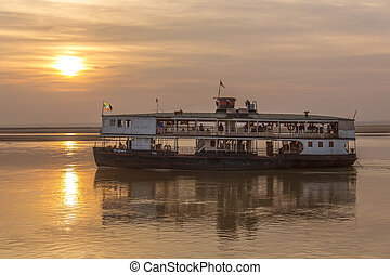 Old River Boat - Irrawaddy River - Myanmar