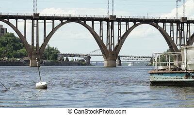 Old river ship in city