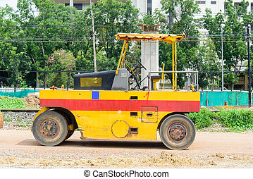 Old Road roller on the street