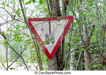 old road sign  in the forest