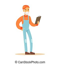 Old Road Worker With Clipboard , Part Of Roadworks And Construction Site Series Of Vector Illustrations
