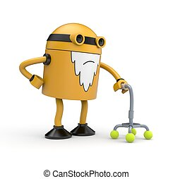 Old robot with a crutch - Old orange robot whose back pain...