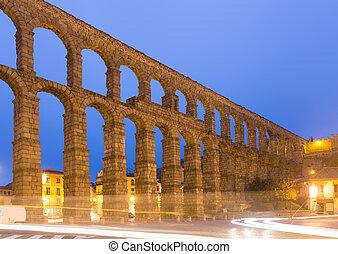old Roman Aqueduct in morning time. Segovia