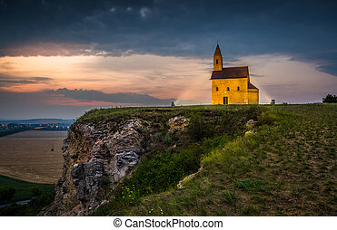 Old Roman Church at Night in Drazovce, Slovakia