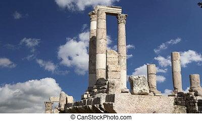 old roman Citadel Hill, Amman, Jordan - Amman city...