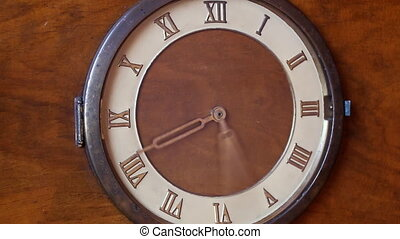 Old roman clock close up - Close up view of vintage wooden...