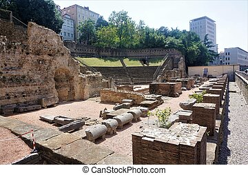 Old Roman theatre in the city of Trieste, Italy
