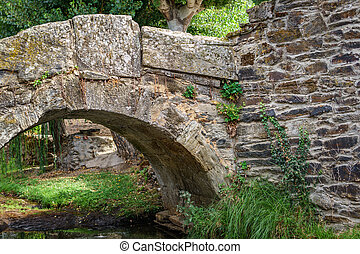 Old romanic stone bridge - Detail of old romanic stone ...