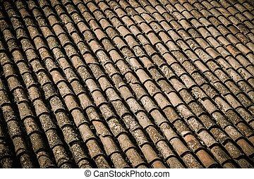 Old roof tile close-up