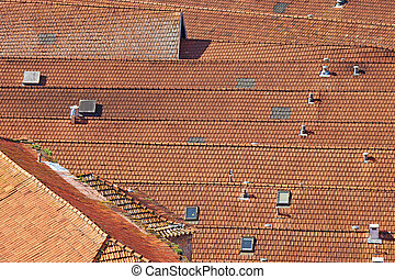 Old roof with old roof tiles