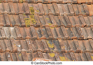 rooftile - old rooftile in a house in italy
