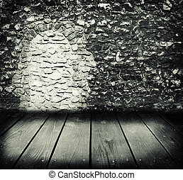 Old room and empty wooden floor