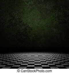 Old room with checkered floor