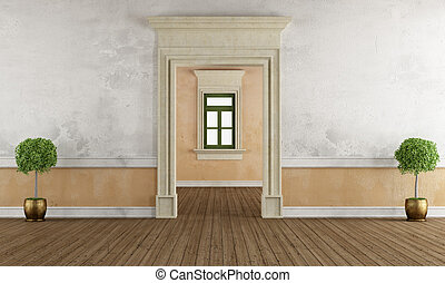 Old room with stone doorway and window in the background