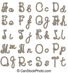 Old rope alphabet from a to t