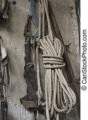 old rope hanging on the wall