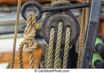 Old rope on sailing boat