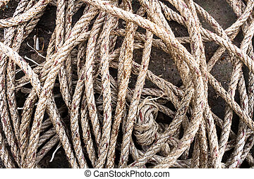 Old rope on the fishing port