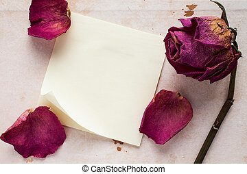 Old rose and blank sticky note paper