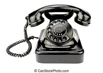 Old rotary phone on white background.