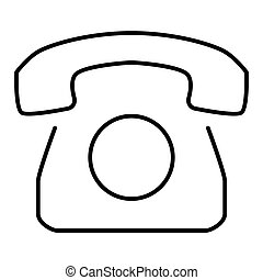 Old Rotary Phone Outline Icon. Vector icon isolated on white. Flat design. eps 10