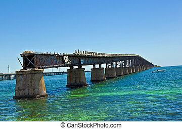 old rotten bridge near Bahia Honda State park
