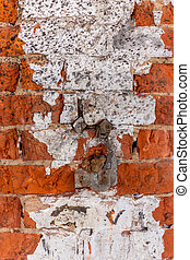Old rough red brick wall texture. architectural building. vintage