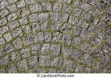 Old rounded paving stones with grass