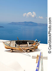 Old rowing boat in Santorini, Greece