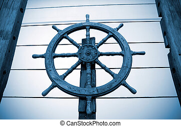 old rudder,Antique architectural ornaments.