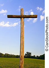 Old Rugged Cross landscape - An old, rugged wooden cross...