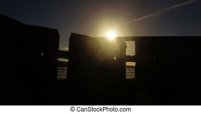 Old ruin and river at dusk 4k - Silhouette of old ruin and ...
