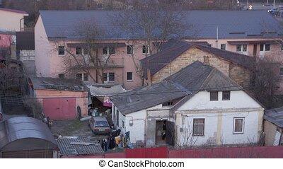 Old ruin house poor facade