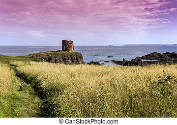Shot of an old ruined Castle in Elie Scotland