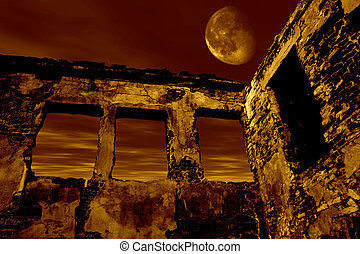 Old ruin in the moonlight. Dramatic toned