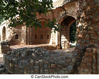 old ruin - old rooten wooden dor on ruin of Hamayun tomb...