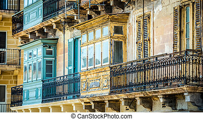 old ruined balcony in Valletta