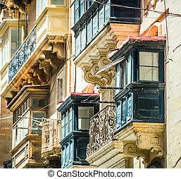 old ruined balcony in Valletta