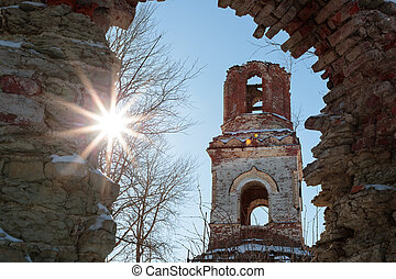 old ruined church on a sunny day