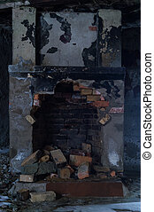 Old ruined fireplace