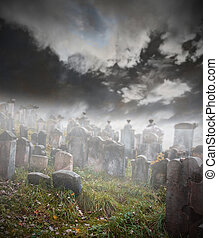 Old ruined graveyard in mystery fog