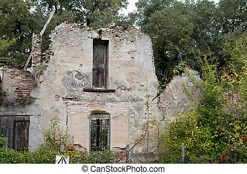 Old ruined house in the woods
