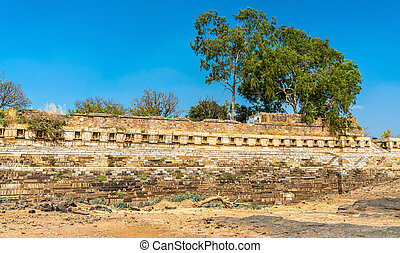 Old ruins at Chittor Fort in Chittorgarh city of India